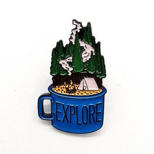 Explore Mug Pin Badge Brooch